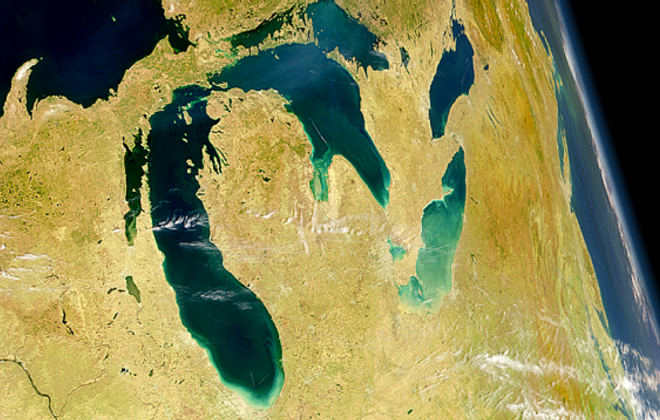 A  University of Michigan study showed the work of cleaning the Great Lakes is paying off for Buffalo and other areas. The initiative must be protected from President Trump's plan to eviscerate it in favor of a border wall. (NASA)