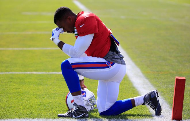 Bills quarterback Tyrod  Taylor's public persona is an incomplete picture of the man he truly is: a goofy jokester with a big heart, a caring spirit and a work ethic so intense it inspires his teammates to be better. (Harry Scull Jr./Buffalo News)
