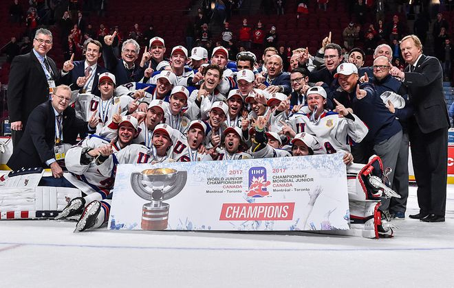 Team USA is the defending champion of the World Junior Championships after beating Team Canada in a shootout in the gold medal game last year in Montreal (Getty Images).