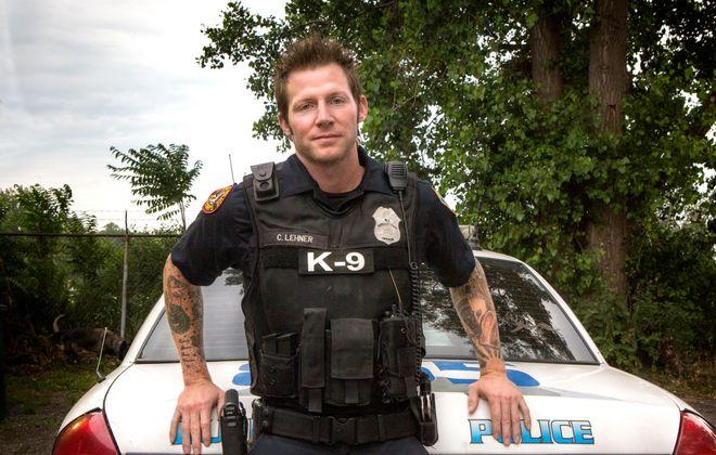 Buffalo Police Officer Craig Lehner in July at the K-9 training area, Louisiana Street. (Photo courtesy of Shannon Davis)
