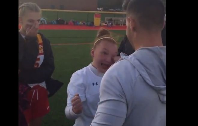 Big brother returns home, surprises Will East girls soccer player