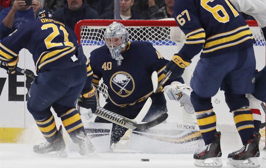 Goaltender Robin Lehner is 5-2-0 all-time against Columbus. (Mark Mulville/Buffalo News)
