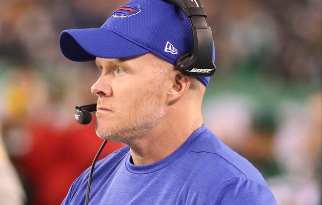 The Bills' Sean McDermott had plenty of advice for prospective NFL head coaches. (James P. McCoy/Buffalo News)