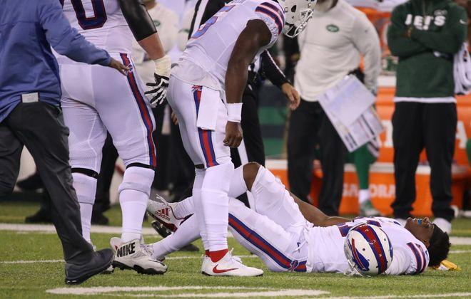 Buffalo Bills wide receiver Zay Jones (11) is injured in the first half. (James P. McCoy/Buffalo News)