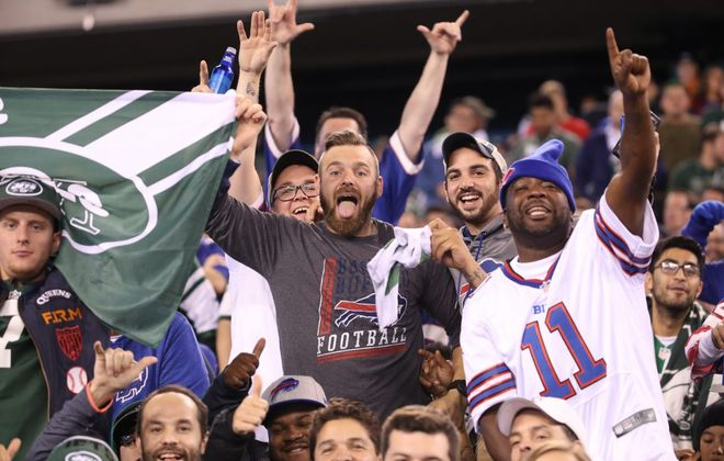 Fans at MetLife Stadium during the Bills-Jets Thursday night game. (James P. McCoy/Buffalo News)