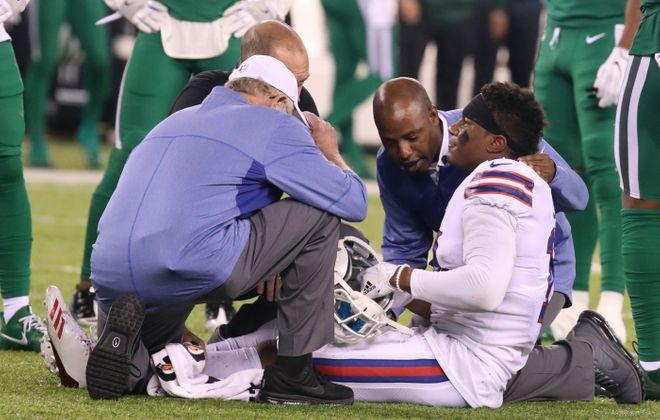 Buffalo Bills wide receiver Zay Jones (11) was injured against the New York Jets. (James P. McCoy/Buffalo News)