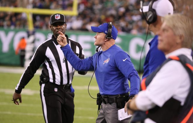 Bills coach Sean McDermott signals to his team during the Nov. 2 loss against the Jets. (James P. McCoy/News file photo)
