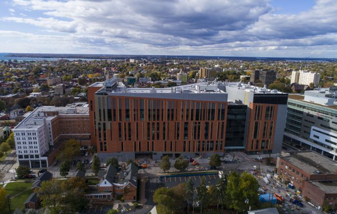 The University at Buffalo's Jacobs School of Medicine and Biomedical Sciences is nearly complete on the Buffalo Niagara Medical Campus.  (Derek Gee/Buffalo News)