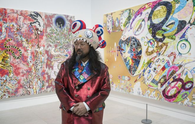 """Acclaimed Japanese artist Takashi Murakami attends a ceremony to officially open his new exhibit """"The Deep End of the Universe"""" at the Albright-Knox Art Gallery, Thursday, Nov. 9, 2017.  (Derek Gee/Buffalo News)"""