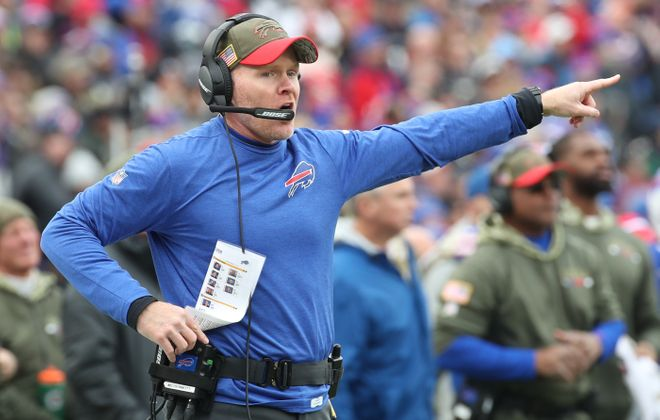 Buffalo Bills head coach Sean McDermott is upset n the second quarter at New Era Field Orchard Park N.Y. on Sunday, Nov. 12, 2017.  (James P. McCoy/Buffalo News)
