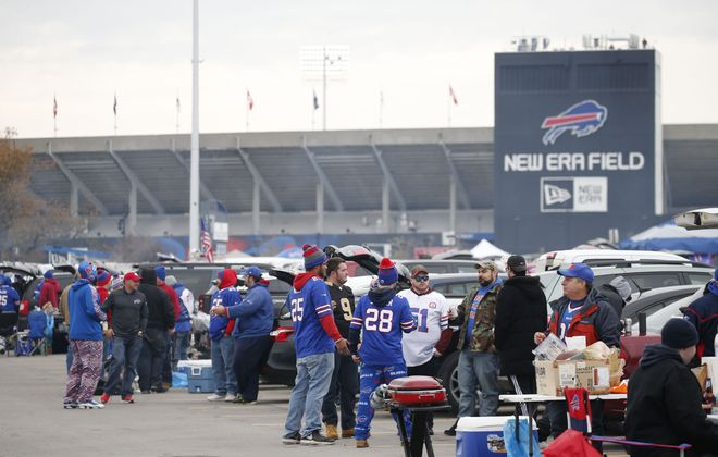 Fans tailgate before the game at New Era Field in Orchard Park on Sunday, Nov. 12, 2017. (Derek Gee/Buffalo News)