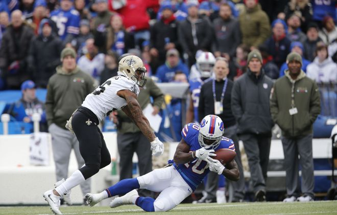 Buffalo Bills wide receiver Deonte Thompson (10) can't hang on to a pass as he is pressured by New Orleans Saints cornerback P.J. Williams during the second quarter. (Derek Gee/Buffalo News)