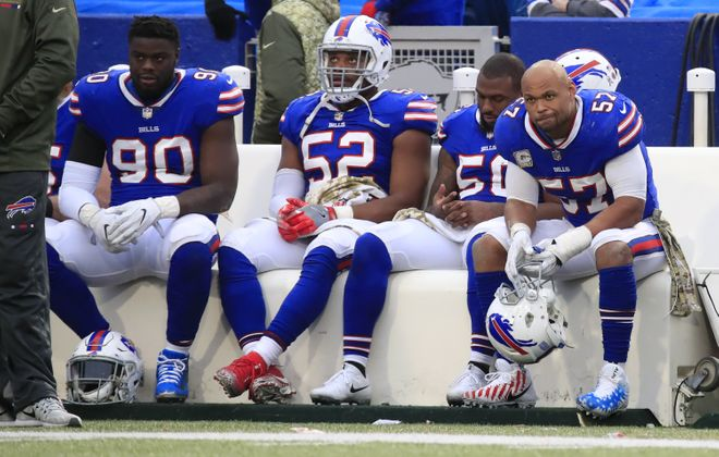 There was plenty of disappointment on the Buffalo Bills' sideline Sunday against the Saints. (Harry Scull Jr./Buffalo News)