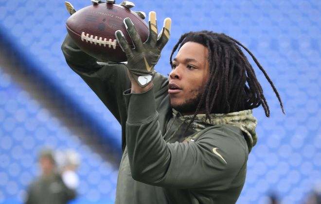 Kelvin Benjamin saw his first action with the Buffalo Bills on Sunday against the New Orleans Saints. (Harry Scull Jr./Buffalo News)