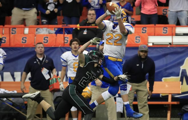 West Seneca West receiver Kule Haettich makes a catch against Yorktown during second half action of the Class A New York State Championship game at the Carrier Dome on Friday, Nov. 24, 2017. (Harry Scull Jr./ Buffalo News)
