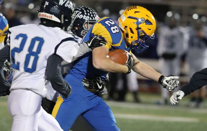 West Seneca West's John Speyer had two touchdowns in last week's state Class A semifinal win. Nov. 17, 2017.  (James P. McCoy / Buffalo News)