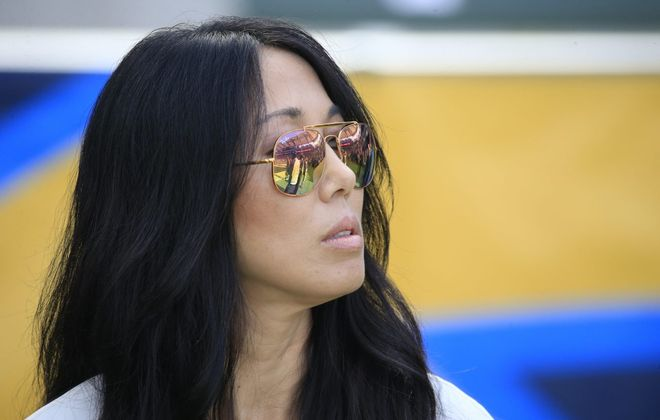 Buffalo Bills owner Kim Pegula watches pregame prior to game action against the Los Angeles Chargers at the StubHub Center on Sunday, Nov. 19, 2017. (Harry Scull Jr./Buffalo News)