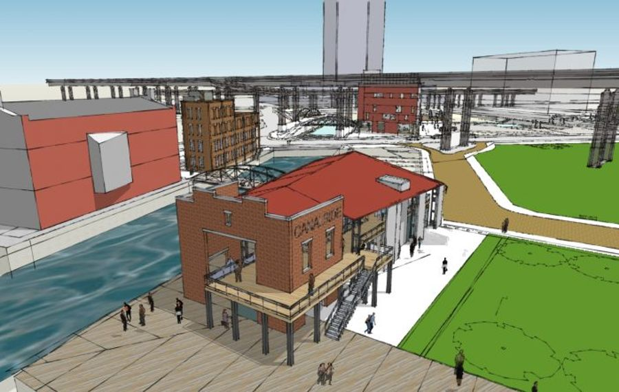 The Pavilion is planned on the Central Wharf, while the Union Block building is projected on the other side of the Commercial Slip, near the naval park.