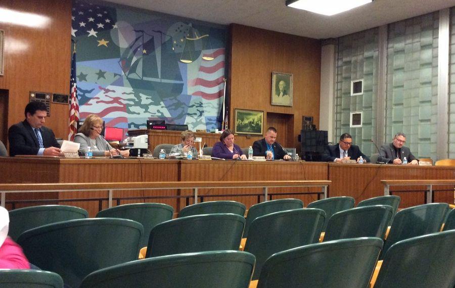 City of Tonawanda Common Council 2017, (l-r) Charles Gilbert, Jacqueline Smilinich, City Clerk Gayle Syposs, Jenna Koch, Rick Davis, Sean Raustenrauch and Tim Toth