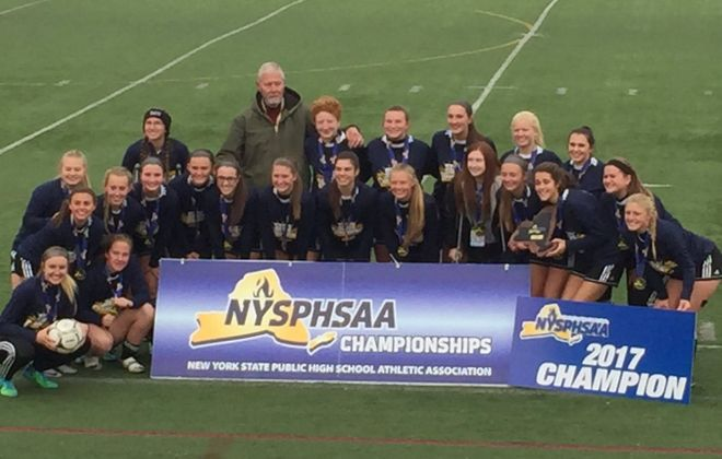 Allegany-Limestone won the Class C girls soccer state final Sunday against Stillwater. Photo via Twitter (@ALGatorBaseball)