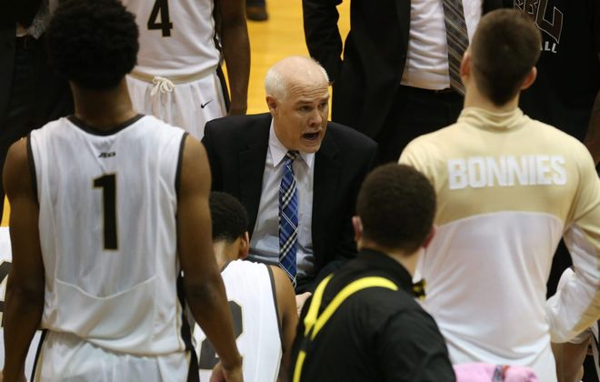 St. Bonaventure and head coach Mark Schmidt. (Sharon Cantillon/News file photo)