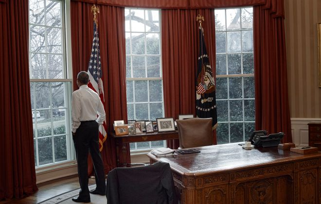 A portrait of President Obama in the Oval Office, by Annie Leibovitz.