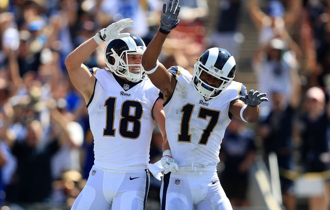 Cooper Kupp (left) and Robert Woods of the Los Angeles Rams celebrate (Sean M. Haffey/Getty Images)