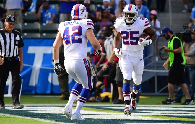 Bills fullback Patrick DiMarco (42) didn't play a lot of snaps Sunday against the Chargers. (Getty Images)