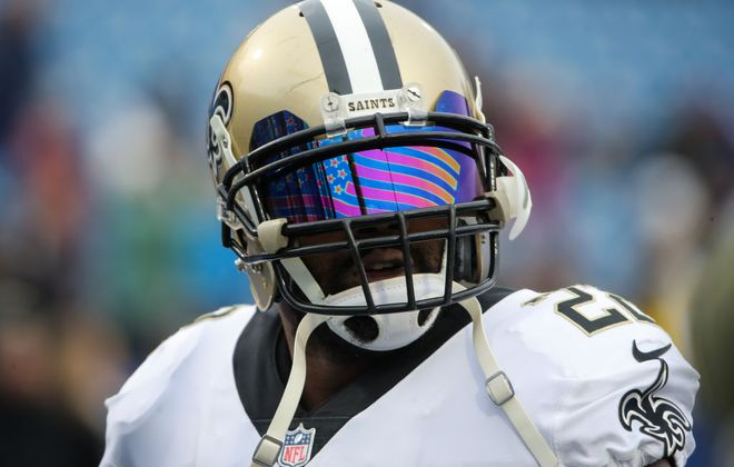 Mark Ingram of the New Orleans Saints looks towards fans before a game against the Buffalo Bills. (Getty Images)