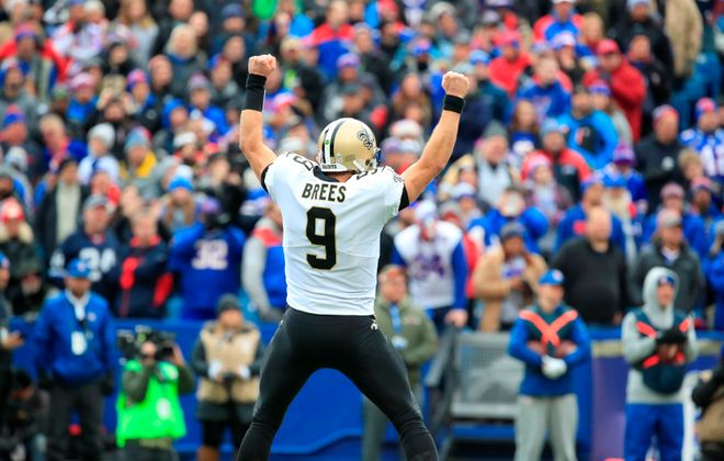New Orleans Saints quarterback Drew Brees celebrates a touchdown against the Buffalo Bills during first quarter action at New Era Field on Sunday, Nov. 12, 2017. (Harry Scull Jr./Buffalo News)