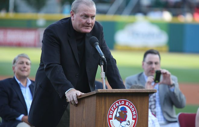 Eric Wedge speaks after being inducted into the Buffalo Baseball Hall of Fame on July 11, 2014.  (News file photo)