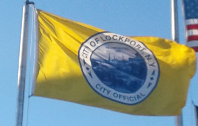 The City of Lockport flag. (Thomas J. Prohaska/Buffalo News)