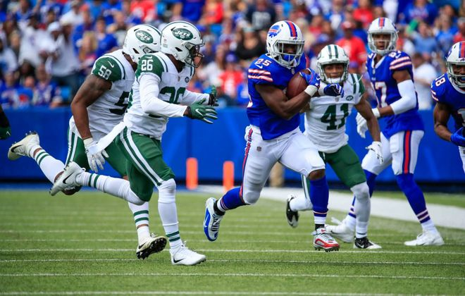 LeSean McCoy needs to have runs like these to help the Bills avoid stubbing their collective toe in their rematch against the Jets. (Harry Scull/Buffalo News)