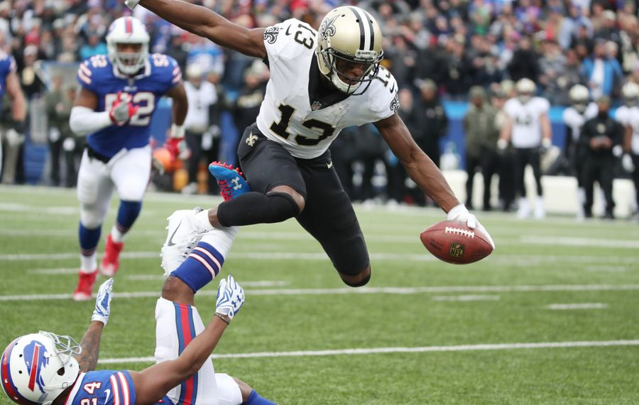 Buffalo Bills defensive back Leonard Johnson (24) gets beat by New Orleans Saints wide receiver Michael Thomas in the 2nd quarter for a first down. (James P. McCoy/Buffalo News)