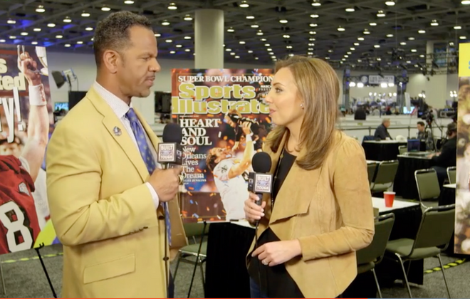 """Maggie Gray interviews Bills Hall-of-Famer Andre Reed. Gray has a been a Bills fan for most of her life. She grew up in Binghamton and says her uncle """"indoctrinated"""" her into Bills fandom at an early age."""