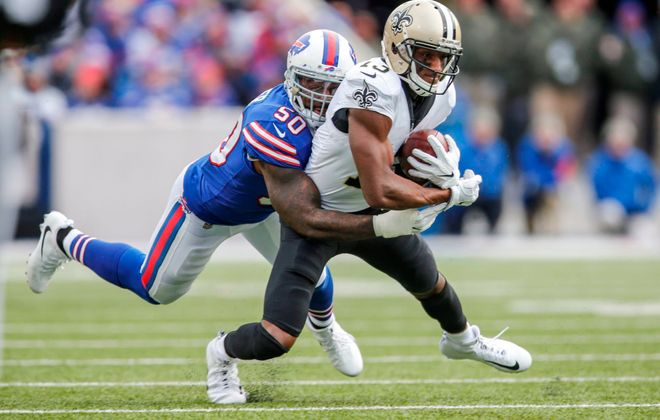 Linebacker Ramon Humber (50) will be back with the Buffalo Bills in 2018. (Derek Gee/News file photo)