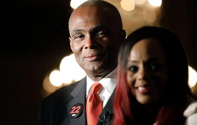 Bernie Tolbert arrives at the Democrats' election night celebration at Statler City Tuesday night.  (Derek Gee/Buffalo News)