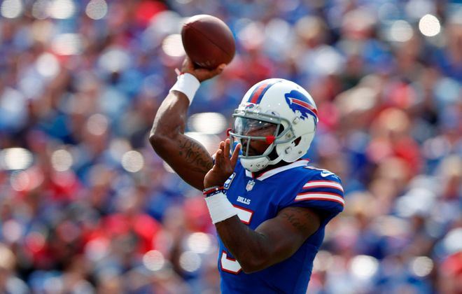 In his last four sub-60 degree games, Taylor has completed 67.8 percent of his throws at 7.79 yards per attempt with seven touchdowns and one interception. (Mark Mulville/Buffalo News)