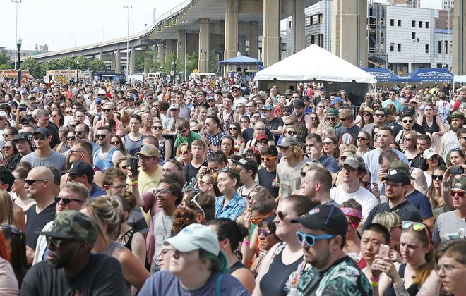 Fans packed in Canalside for the 2018 summer version of Kerfuffle. (Robert Kirkham/News file photo)