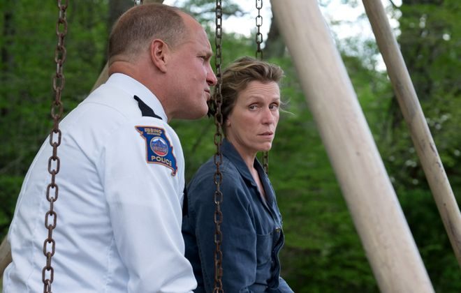 "Woody Harrelson and Frances McDormand star in ""Three Billboards: outside Ebbing Missouri."""