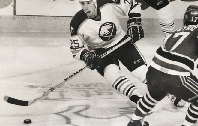 Dave Andreychuk gets inducted into the Hockey Hall of Fame Monday night (Buffalo News file photo).