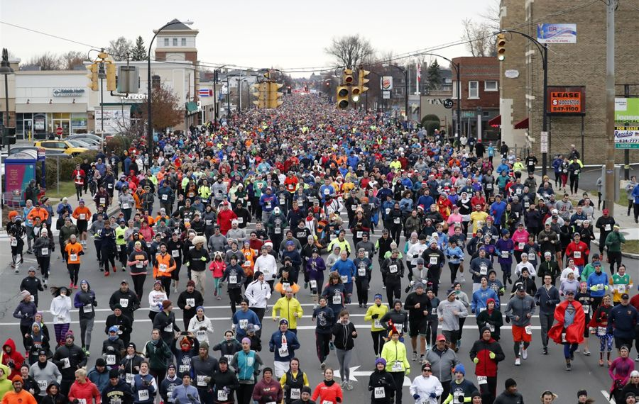 Collection bins for the Food Bank of WNY will be placed at the Delaware Family Branch YMCA before the start of the Turkey Trot on Thanksgiving morning. (Mark Mulville/News file photo)