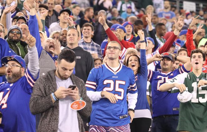 Buffalo Bills fans are seen at MetLife Stadium in East Rutherford, N.J., on Thursday, Nov. 2, 2017.  (James P. McCoy/Buffalo News)