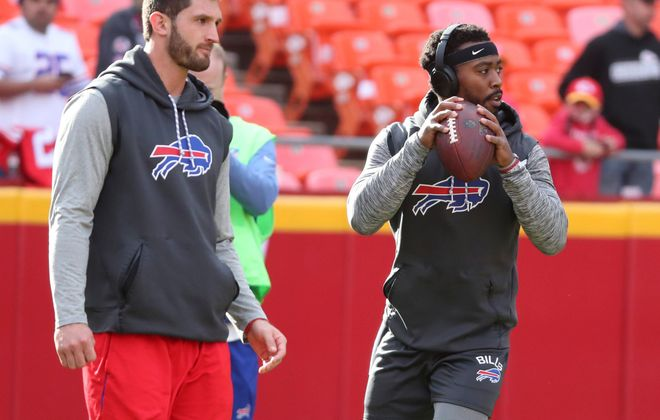 Either Tyrod Taylor, right, or Nathan Peterman will have a favorable matchup Sunday against the Indianapolis Colts' weak pass defense. (James P. McCoy/News file photo)