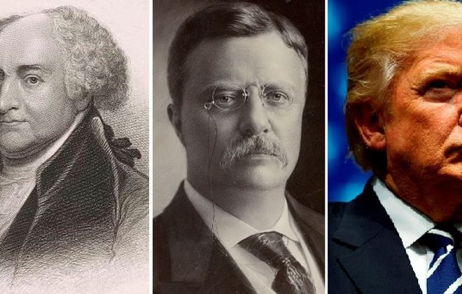 A media panel will discuss  the relationship of U.S. presidents John Adams, left, Theodore Roosevelt and Donald Trump at the Buffalo History Museum. (Library of Congress images, Trump photo by Getty Images)