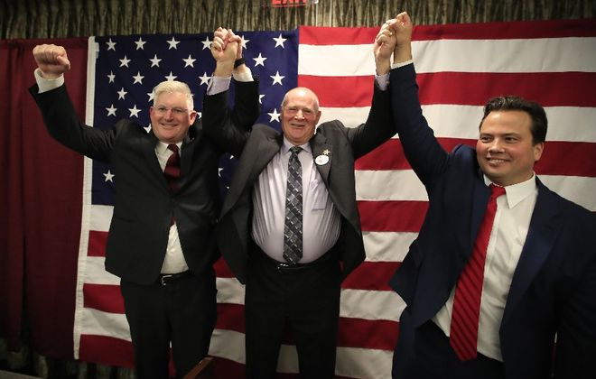 Despite Democrats' enrollment advantage, Republicans often win in Erie County, as happened again last week with victories by, left to right,  county clerk candidate Mickey Kearns – running on the GOP line – as well as Sheriff Timothy B. Howard  and Comptroller Stefan Mychajliw. (Harry Scull Jr./ Buffalo News)