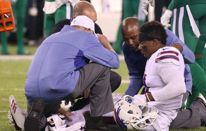 Buffalo Bills wide receiver Zay Jones (11) gets injured in the fourth quarter at MetLife Stadium in  East Rutherford, N.J., on Thursday, Nov. 2, 2017.  (James P. McCoy / Buffalo News)