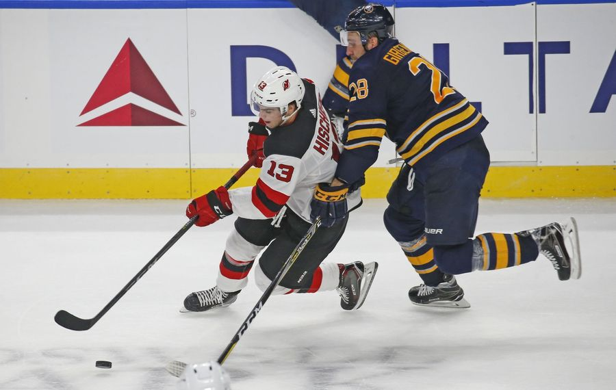 The Devils' Nico Hischier and the Sabres' Zemgus Girgensons each have two goals in the last two games. (Robert Kirkham/News file photo)