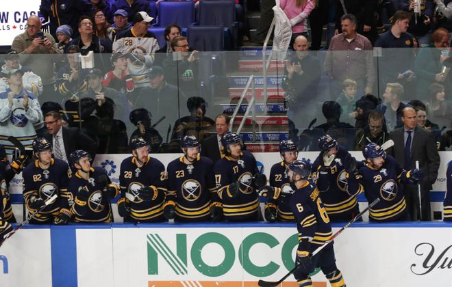 No team has had fewer goal celebrations at its bench than the Buffalo Sabres. (Sharon Cantillon/Buffalo News)