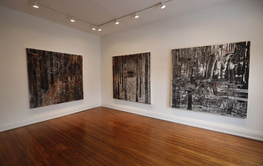 Rodney Taylor's new work features a triptych of paintings mixing natural an abstract elements. (Mark Mulville/Buffalo News)